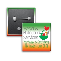 """Food & Nutritional Services: Your Service & Care Warms The Hearts & Lives Of All"" Button Square Buttons (Sold in Packs of 25)  Celebrate National Healthcare Food Service Week Week with our square buttons decorated with our theme stock design ""Food & Nutritional Services: Superheroes Serving You Goodness"". Safety pin backed. Sold in packs of 25. $19.95."