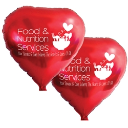 """Food & Nutritional Services: Your Service & Care Warms The Hearts & Lives Of All"" Heart Shaped Foil Balloons (Pack of 10 assorted colors) Food Service, Nutrition Services, Week Theme, Dietary, foil balloons, mylar, party goods, decorations, celebrations, round shaped balloons, promotional balloons, custom balloons, imprinted balloons"