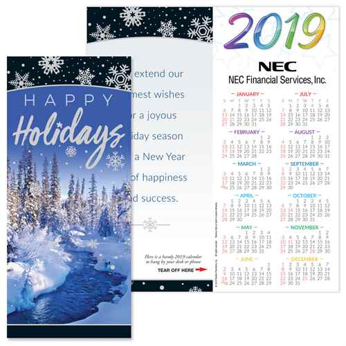 Happy Holidays 2019 Silver Foil-Stamped Holiday Greeting Card Calendar Mailable Calendar, Direct Mail Calendar, Customer Calendar Stick Up, Wall Calendar, Planner, The Positive Line, Business Calendar, Office Calendar, Business Gifts, Corporate Gifts, Sales and Marketing, Sales Meetings, Giveaways, Promotional Calendars, greeting card calendar, holiday greeting card, custom printed greeting card calendar