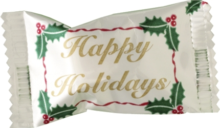 Happy Holidays Butter Mints mints, butter mints, buttermints, individually wrapped mints, restaurant mints, party mints, celebration gifts, mint basket, mint bowl, holiday gifts