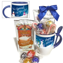 Happy Holidays Cocoa & Cake Mug & Spoon Gift Set | Corporate Holiday Gifts | Care Promotions