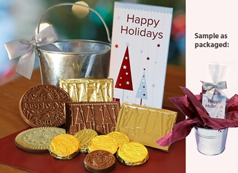 Happy Holidays Gift Pail Holiday Gifts, employee appreciation, employee recognition, business gifts, thank you gifts, food gifts, chocolate