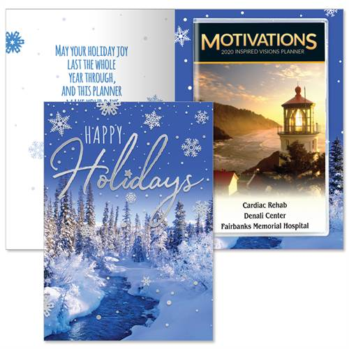 Happy Holidays Greeting Card With 2020 Motivations Planner | Care Promotions