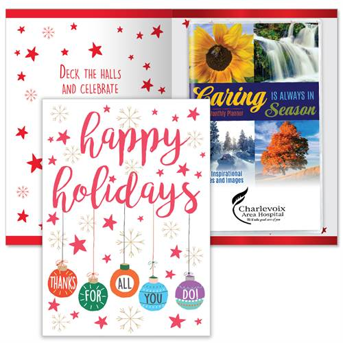 Happy Holidays Thanks For All You Do Greeting Card With 2020 Caring Is Always In Season Planner | Care Promotions