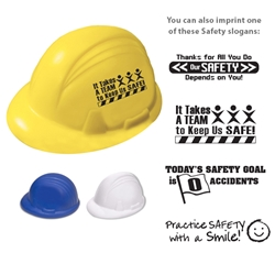 Hard Hat Stress Reliever  Working Safe, Safely, safety, Hard Hat Stress Ball, Hard Hat, Stress, Ball, Reliever, Imprinted, Personalized, Promotional, with name on it, giveaway,