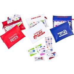 Health & Wellness First Aid Kit Health & Wellness First Aid Kit, Health, Wellness, First, Aid, Kit, Pouch, Zip Purse, Package, Imprinted, Personalized, Promotional, with name on it, giveaway