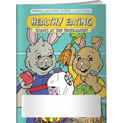 Healthy Eating Starts at the Supermarket Coloring Book Healthy Eating Starts at the Supermarket Coloring Book, BetterLifeLine, BetterLife, Education, Educational, information, Informational, Wellness, Guide, Brochure, Paper, Low-cost, Low-Price, Cheap, Instruction, Instructional, Booklet, Small, Reference, Interactive, Learn, Learning, Read, Reading, Health, Well-Being, Living, Awareness, ColoringBook, ActivityBook, Activity, Crayon, Maze, Word, Search, Scramble, Entertain, Educate, Activities, Schools, Lessons, Kid, Child, Children, Story, Storyline, Stories, Food, Nutrition, Diet, Eating, Body, Snack, Meal, Eat, Sugar, Fat, Calories, Carbs, Carbohydrate, Weight, Obesity, Imprinted, Personalized, Promotional, with name on it, Giveaway,
