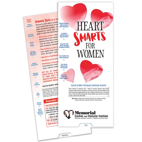 Heart Smarts for Women Slide Guide womens heart health month, womens heart awareness, american heart month giveaways, healthy heart promotions, heart health promotional items, health fair giveaways, employee wellness giveaways, educational promotional products