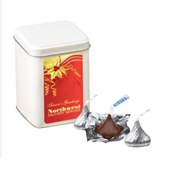 Hersheys Chocolate Kisses Canister Gift Tin holiday gifts, holiday food gifts, corporate holiday gifts, gift sets, chocolate gifts, employee appreciation, employee recognition, holiday parties