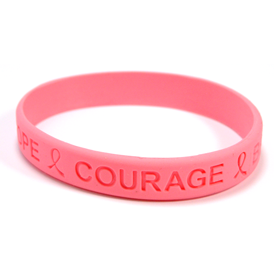 Hope Courage Bravery Endurance Breast Cancer Awareness Silicone Wristband Bracelet hope bracelet, pink ribbon bracelet, breast cancer awareness bracelet, pink ribbon gifts, pink promotional items, breast cancer awareness merchandise, awareness bracelet, silicone wristband bracelet