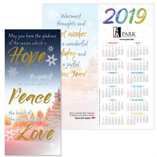 Hope, Peace & Love 2019 Gold Foil-Stamped Holiday Greeting Card Calendar  Mailable Calendar, Direct Mail Calendar, Customer Calendar Stick Up, Wall Calendar, Planner, The Positive Line, Business Calendar, Office Calendar, Business Gifts, Corporate Gifts, Sales and Marketing, Sales Meetings, Giveaways, Promotional Calendars, greeting card calendar, holiday greeting card, custom printed greeting card calendar