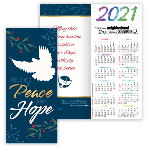 Hope, Peace & Love 2021 Gold Foil-Stamped Holiday Greeting Card Calendar  Mailable Calendar, Direct Mail Calendar, Customer Calendar Stick Up, Wall Calendar, Planner, The Positive Line, Business Calendar, Office Calendar, Business Gifts, Corporate Gifts, Sales and Marketing, Sales Meetings, Giveaways, Promotional Calendars, greeting card calendar, holiday greeting card, custom printed greeting card calendar