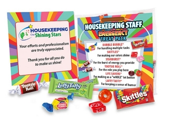Housekeeping Staff Emergency Treat Pack  staff, survival, kit, emergency, treat, pack, employee recognition Treat, employee appreciation treat, Employee Treat Giveaway, Employee Appreciation Candy Kit