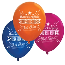 """Housekeeping: Superheroes That Shine"" 11 inch Fashion Latex Balloons (Pack of 60 assorted)  Housekeeping, housekeepers, week, staff, Theme, Latex, balloons, party goods, decorations, celebrations, round shaped balloons, promotional balloons, custom balloons, imprinted balloons"