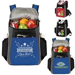"""Housekeeping: Superheroes That Shine!"" Prime 18 Cans Cooler Backpack  Housekeeping, Superhero, theme Backpack cooler, Can Cooler, 18 Can Backpack cooler, 18 pack cooler, Imprinted, With Logo, With Name On It"
