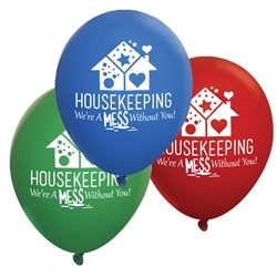"""Housekeeping: Were A Mess Without You"" 11 inch Crystal Latex Balloons (Pack of 60 assorted)   Housekeeping, housekeepers, week, staff, Theme, Latex, balloons, party goods, decorations, celebrations, round shaped balloons, promotional balloons, custom balloons, imprinted balloons"