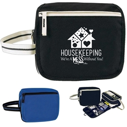 """Housekeeping: Were A Mess Without You!"" Horizon Travel Kit  Global, Horizon, Housekeeping, Toiletry, Economy, Zipper, Zippered, Travel, Pack, Waist, Bag, Kit, Promotional, Events, All Purpose, Imprinted, Reusable, Custom, Personalized, Sport, Pack, recognition,"