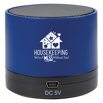 """Housekeeping: Were A Mess Without You"" Wireless Mini Cylinder Speaker  Housekeeping, Housekeepers, EVS, Environmental Services, Theme, Wireless, mini, speaker, Bluetooth, 4.1, tech gifts, technology, ideas, Imprinted, Personalized, Promotional, with name on it, giveaway,"