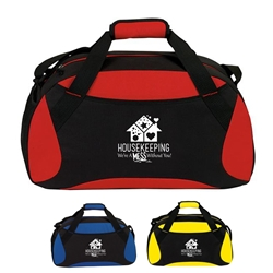 """Housekeeping: Were a Mess Without You!"" All Sport Duffle Housekeeping, housekeepers, week, appreciation, gift, theme, 19"" Sport, Deluxe, Duffle, Promotional, Imprinted, Polyester, Travel, Custom, Personalized, Bag"