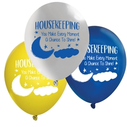 """Housekeeping: You Make Every Moment A Chance to Shine!"" 11"" inch Crystal Latex Balloons (Pack of 60 assorted)  Healthcare Environmental Services Week, Balloons, Party, Decorations, theme, Housekeepng, Housekeepers, Week, National, Theme, Latex balloons, party goods, decorations, celebrations, round shaped balloons, promotional balloons, custom balloons, imprinted balloons"