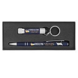 """Housekeeping: You Make Every Moment A Chance to Shine!"" Executive Soft Touch Key Light and Pen Gift Set Housekeeping Theme, EVS theme, Environmental Services theme pen,  and key tag set, Nurses theme gift set, soft touch,  Pen, Mini Flash Light, Pen and flashlight Gift Set, Imprinted, Personalized, Promotional, with name on it"