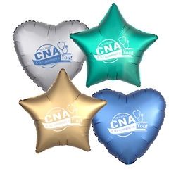 """Im A Proud CNA & Our Commitment Is You! Heart Shaped Foil Balloons (Pack of 10 assorted colors)  Nursing Assistants Week, NA Week, CNA Week, Theme, Nurses, Nursing, foil balloons, mylar, party goods, decorations, celebrations, round shaped balloons, promotional balloons, custom balloons, imprinted balloons"