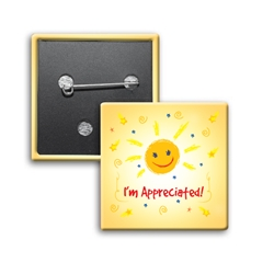 Im Appreciated Square Buttons (Pack of 25)   Recognition, Employee, Appreciation, Square Button, Campaign Button, Safety Pin Button, Full Color Button, Button
