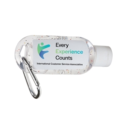 "ICSA ""Every Experience Counts"" 1 Oz. Hand Sanitizer With Carabiner  ICSA, Customer Service Theme, Every Experience Counts, 1 Oz. Hand Sanitizer With Carabiner, 1 oz., Hand, Sanitizer, with, carabiner, Imprinted, Personalized, Promotional, with name on it, giveaway,"