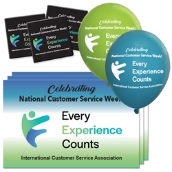 "ICSA ""Every Experience Counts"" Decoration Pack Poster, Buttons, Pens, Cups, Celebration Pack, Customer Service, Week, theme Celebration Pack"