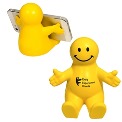 "ICSA ""Every Experience Counts"" Happy Dude Mobile Device Holder  Every Experience Counts, ICSA, International Customer Service Association, promotional cell phone stand, promotional stress reliever, custom logo stress relievers, custom logo phone stand, employee appreciation gifts, trade show giveaways"