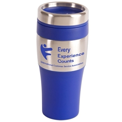 "ICSA ""Every Experience Counts"" Silver Streak Tumbler, 16 oz. (Stock Design) ICSA, International Customer Service Association, National Customer Service Week, Theme, Every Experience Counts, Tumbler,Promotional travel mug, promotional coffee mug, promotional tumbler, promotional drinkware"