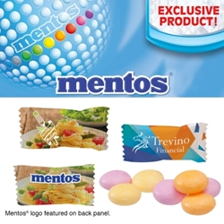 Individually Wrapped Assorted Fruit or Mint Mentos Mentos, Mints, Fruit Assortment, Custom Mentos, Imprinted, Personalized, Promotional, with name on it