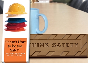 """It Cant Hurt to Be Too Safe!"" Chocolate Bar Employee Appreciation, Employee Recognition, Safety Incentives, Safety Rewards, Workplace Safety, National Safety Month, Safety Meetings, Safety Snacks, OSHA"