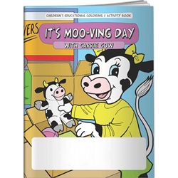 Its Moo-ving Day with Carrie Cow Coloring Book Its Moo-ving Day with Carrie Cow Coloring Book, BetterLifeLine, BetterLife, Education, Educational, information, Informational, Wellness, Guide, Brochure, Paper, Low-cost, Low-Price, Cheap, Instruction, Instructional, Booklet, Small, Reference, Interactive, Learn, Learning, Read, Reading, Health, Well-Being, Living, Awareness, ColoringBook, ActivityBook, Activity, Crayon, Maze, Word, Search, Scramble, Entertain, Educate, Activities, Schools, Lessons, Kid, Child, Children, Story, Storyline, Stories, Imprinted, Personalized, Promotional, with name on it, Giveaway,