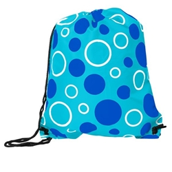 Kaleida Drawstring Backpack with Appreciation Bag Tag (Aqua Circles)