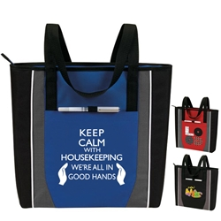 """Keep Calm: With Housekeeping Were All In Good Hands"" Prime Zip Tote  Housekeeping Recognition Tote, All Purpose, Prime, Polyester, Linen, Meeting, Signature, Zip, Promotional Events, Trade Show Bags, Health Fair, Imprinted, Tote, Reusable"