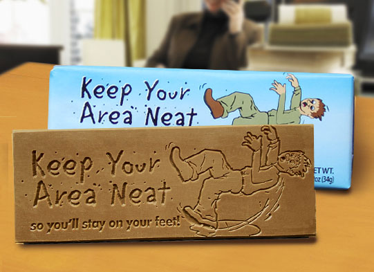 """Keep Your Area Neat, So Youll Stay on Your Feet"" Chocolate Bar Employee Appreciation, Employee Recognition, Safety Incentives, Safety Rewards, Workplace Safety, National Safety Month, Safety Meetings, Safety Snacks, OSHA"