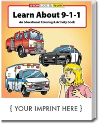 Learn About 911 Coloring & Activity Book promotional coloring book, public safety promotional items, 911 safety coloring book, fire prevention promotional products, visit to the fire station, fire station open house, fire prevention week, fire department giveaways, fire safety education promos