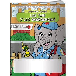 Learn About EMTs and Emergencies Coloring Book (Spanish) Learn About EMTs and Emergencies Coloring Book, Spanish,BetterLifeLine, BetterLife, Education, Educational, information, Informational, Wellness, Guide, Brochure, Paper, Low-cost, Low-Price, Cheap, Instruction, Instructional, Booklet, Small, Reference, Interactive, Learn, Learning, Read, Reading, Health, Well-Being, Living, Awareness, ColoringBook, ActivityBook, Activity, Crayon, Maze, Word, Search, Scramble, Entertain, Educate, Activities, Schools, Lessons, Kid, Child, Children, Story, Storyline, Stories,  Imprinted, Personalized, Promotional, with name on it, Giveaway,