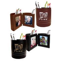 Leatherette Folding Photo Frame Desk Caddy business gifts, desk gifts, pen caddy, photo frame, holiday gifts, corporate holiday gifts, promotional pen holder, desk organizer