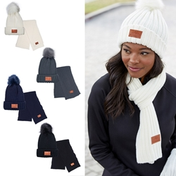 Leeman Ribbed Knit Winter Hat & Scarf Duo | Care Promotions