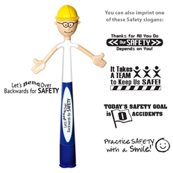 """Lets Bend Over Backwards for Safety"" BEND-A-PEN Safety, bend, a, Pen, Smilez, Smiley, Smiles, Smiley, helmet, Pen, bendable, with imprint, customized, imprint, with name on it,"