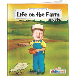 Life on the Farm and Me All About Me Life on the Farm and Me All About Me, story, children, picture, interactive, adventure, farming, agriculture, farmyard, barn, cows, pigs, chickens, cultivate, horse, rooster, Imprinted, Personalized, Promotional, with name on it, giveaway,