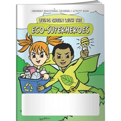 Living Green with the Eco-Superheroes Coloring Book Living Green with the Eco-Superheroes Coloring Book, BetterLifeLine, BetterLife, Education, Educational, information, Informational, Wellness, Guide, Brochure, Paper, Low-cost, Low-Price, Cheap, Instruction, Instructional, Booklet, Small, Reference, Interactive, Learn, Learning, Read, Reading, Health, Well-Being, Living, Awareness, ColoringBook, ActivityBook, Activity, Crayon, Maze, Word, Search, Scramble, Entertain, Educate, Activities, Schools, Lessons, Kid, Child, Children, Story, Storyline, Stories, Green, Environmental, Environment, Eco, Ecology, Ecosystem, Sustainable, Recycle, Recycling, Solar, Renewable, LEED, Natural, World, Earth, Green Peace, Imprinted, Personalized, Promotional, with name on it, Giveaway,