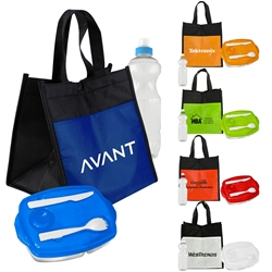 Lunch Bag To-Go, Water Bottle, & Lunch Container Promo Bundle Gift Set Lunch Bag Gift Set, Lunch Bag Bottle Dish Set, Lunch Bag Promo Bundle, Imprinted, With Name On It, With Logo,