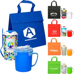 Lunch Cooler, Soup & Salad Promo Bundle Gift Set Lunch Bag Gift Set, Lunch Bag Bottle Dish Set, Lunch Bag Promo Bundle, Imprinted, With Name On It, With Logo,