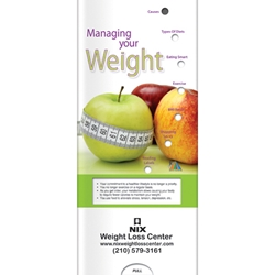 Managing Your Weight Pocket Slider BetterLifeLine, BetterLife, Education, Educational, information, Informational, Wellness, Guide, Brochure, Paper, Low-cost, Low-Price, Cheap, Instruction, Instructional, Booklet, Small, Reference, Interactive, Learn, Learning, Read, Reading, Health, Well-Being, Living, Awareness, PocketSlider, Slide, Chart, Dial, Bullet Point, Wheel, Pull-Down, SlideGuide, Cancer, Women, Woman, Female, Fitness, Gynecology, OB/GYN, Food, Nutrition, Diet, Eating, Body, Snack, Meal, Eat, Sugar, Fat, Calories, Carbs, Carbohydrate, Weight, Obesity, The Positive Line, Positive Promotions