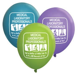 """Medical Laboratory Professionals: Were Better At What We Do & Its All Because of You!"" 11 inch Standard Latex Balloons (Pack of 60 assorted) Medical Lab Theme, Latex balloons, party goods, decorations, celebrations, round shaped balloons, promotional balloons, custom balloons, imprinted balloons"
