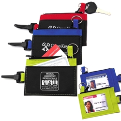 "Medical Laboratory Professionals: Were Better at What We Do & Its All Because of You!"" Clip-On ID Holder with Zip Purse  Med Lab theme, theme, Imprinted, ID Holder, Zipper Purse, ID Window, Holder, Custom, With Logo, with Clip,"