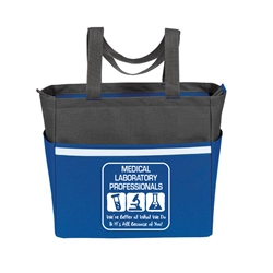 """Medical Laboratory Professionals: Were Better at What We Do & Its All Because of You"" Two-Tone Accent Zip Tote   Medical Laboratory Professionals, Med Lab, theme, two tone, tote, accent, Tote bag, Promotional, Imprinted, Polyester, Travel, Custom, Personalized, Bag"